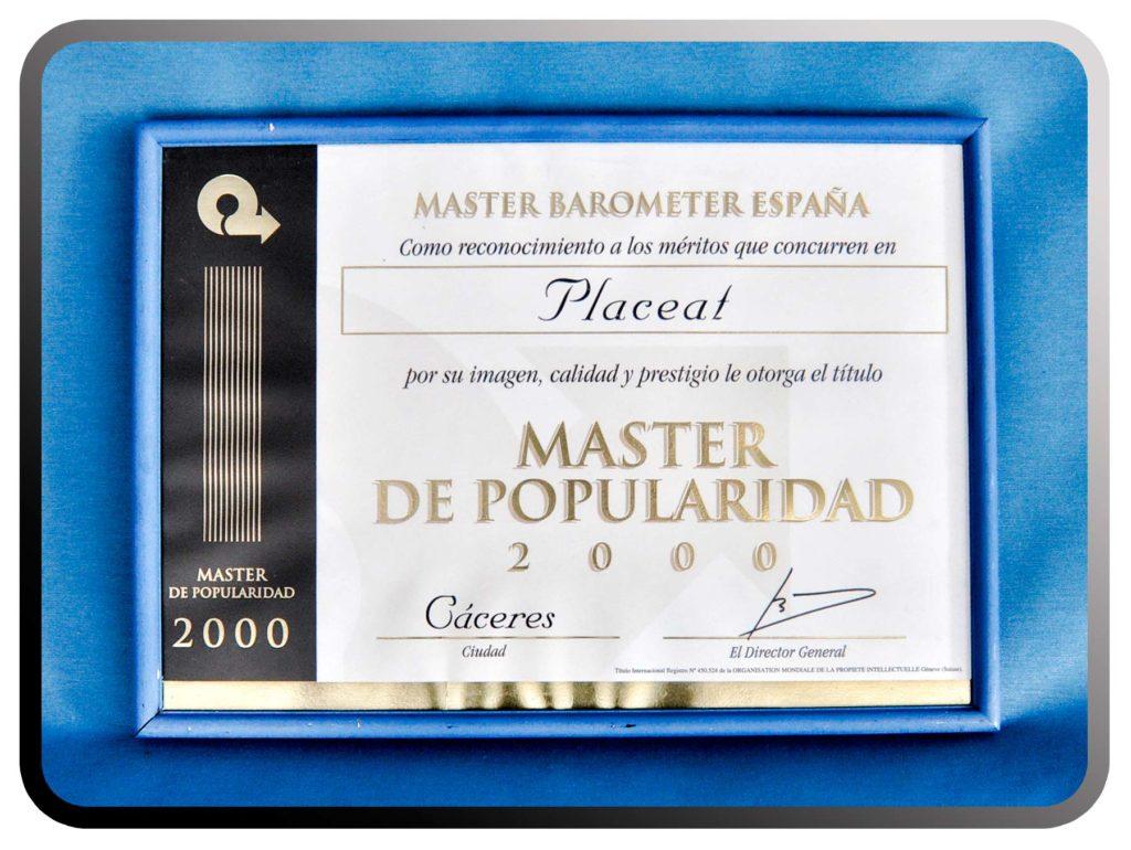 Master de Popularidad a PLACEAT, año 2000