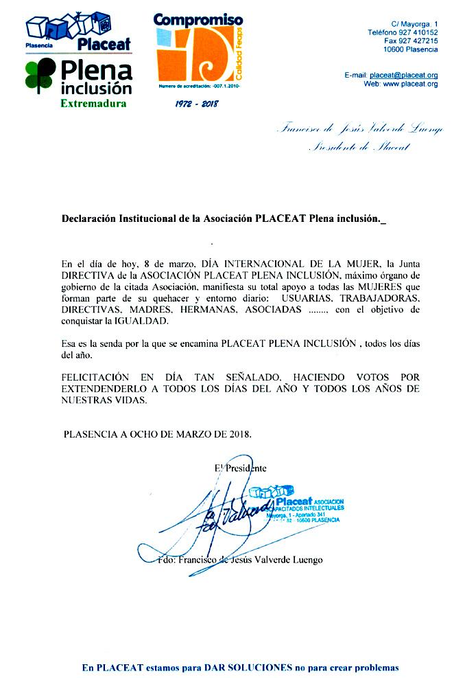 Declaración Institucional de PLACEAT por el Día de la Mujer