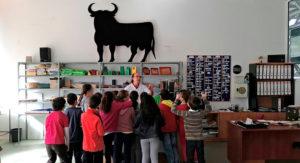 En la imagen se ve un grupo de alumnos de primaria del Cole de San Miguel visitando el Taller de Piel de PLACEAT.
