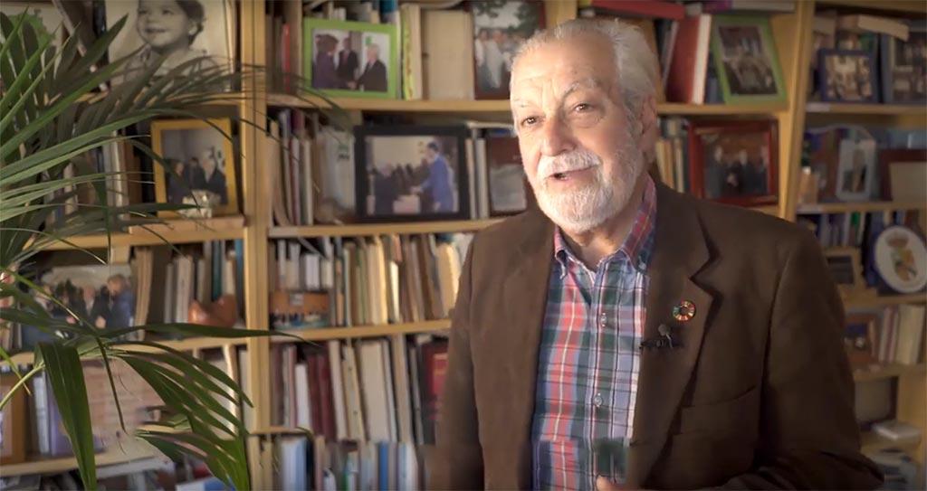 Imagen de Francisco de Jesús Valverde, hablando en el vídeo homenaje como hijo predilecto de Plasencia