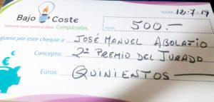 Imagen del cheque por el Premio del Tubo de Burbujas en Albacete
